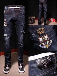Wholesale Jeans Pant Folding - Fashion Men's foreign trade light blue   black jeans pants motorcycle biker men washing to do the old fold Trousers Casual Runway Denim @12