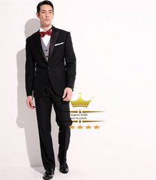 Wholesale Mens Wedding Suits Red Tie - Wholesale-Mens Suit With Pants Custom Wedding Suits For Men Black Peak Lapel One Button Smoking Tuxedos Jacket+Pants+Tie+Vest WY0710