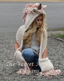 Wholesale Knitted Spring Scarves - Girls' Unicorn Knitted Hats Scarf With Tassels Wool Crochet Cloak Winter Warm Long Collar For 3-10T
