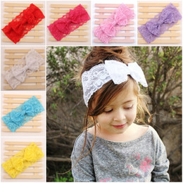 Wholesale Lace Flowers For Headbands Vintage - Baby headbands Lace Bow flower Headwrap Stretch big Bow Headbands for girls lovely kids Vintage Head Wrap Children's Hair Accessories