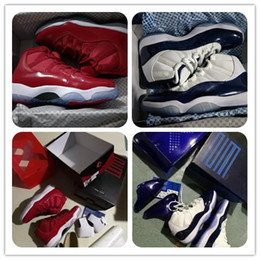 Wholesale Red Nylon Fabric - 11s Gym Red Chicago Midnight Navy Basketball Shoes WIN LIKE 82 Win Like 96 UNC Sports Shoes Space Jam bred 72-10 Women Athletic Original Box