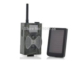 Juego de trail mms online-Suntek HC300M Full HD 1080P MMS GPRS Juego de cámara de caza Cámara Trail + Panel solar Batería Envío gratis