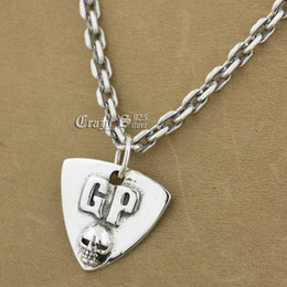 Wholesale Guitar Pick Skull - 925 Sterling Silver Guitar Pick Skull Biker Pendant 9S122A 925 Sterling Silver Necklace 24 inches