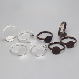 Wholesale basis rings - Wholesale-Simple Adjustable Ring Bases Blank Ring Jewelry Findings & Components 10mm Cabochon Rings Settings Findings 100pcs lot 8406