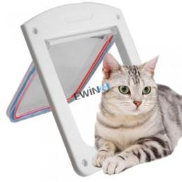 Wholesale Pet Door Small - 4 Way Locking Pet Dog Cat Flap Door Doggy Lockable Magnetic Tunnel Frame S M L