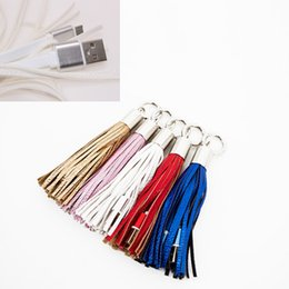 Wholesale Quick Rings - Fashion Tassels Charging Data Cable Portable Key Ring Micro USB Short Bag Decoration Chain Sync Quick Charge Cords Line For Samsung HTC
