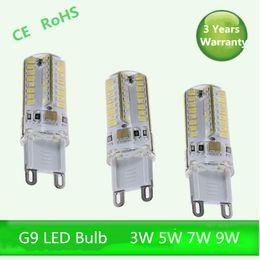 Wholesale 24v Led Dimmable - 5-pack G9 white warm 3W 5W 7W 3014 SMD Dimmable AC110V-130V AC220v-240V LED Lamp Bulb chandelier lamp 360 Beam Angle
