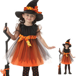 special blend hats Promo Codes - Children's Cosplay Halloween Witch Girls costumes Cosplay dance Costume with Hat Sets The girl Ghost Festival Witch performances C001