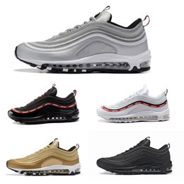 Wholesale Air Springs - With Box Air 97 Og Undftd Undefeated Triple white Running shoes OG Metallic Gold Silver Bullet Mens trainer Women running Shoes sneake