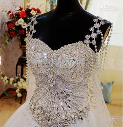 Wholesale Swarovski Bridal Dresses Images - Custom-Made Spaghetti Straps Sweet Heart Ball Gown Swarovski Crystals Pearls With Veils Cathedral Train Wedding Dress Bridal Gown