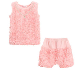 Wholesale Sweet Suits - Summer girl fashion clothes suit sweet rose flower vest+short pants 2 pieces lovely kids clothing girls fashion suit sets
