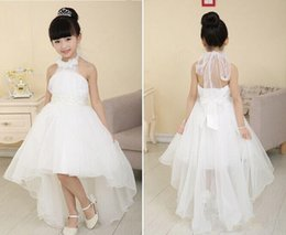 Wholesale Wedding Dress Feathers Top - 2015 Fashionable Top Cheap Price Pretty Halter Flower Girls' Dresses Beading Ball Gown Hi lo Length Good Quality Organza Pageant Dresses