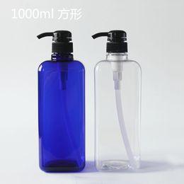 Оптовая продажа-1л квадратный синий насос давления пластиковые шампунь косметика пустая бутылка производители прямой бутылки давления cheap direct pumps от Поставщики прямые насосы