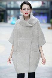 Wholesale Mink Overcoat - Wholesale- New women's overcoat  velvet sweater ladies knitted mink cashmere outerwear girls half sleeve batwing sleeve loose jacket