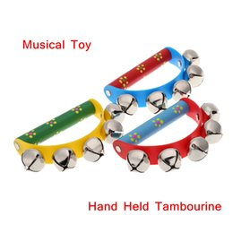 Wholesale Kids Musical Bells - High Quality Tambourine KTV Party Kids Game Musical Toy Hand Held Tambourine Bell Metal Jingles Ball Percussion 1 Piece I571