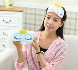 Wholesale Cute Sleeping Masks - New Portable Lovely Cute Cotton Long Eyelashes Crown Style Eye Shade Sleeping Eye Mask 2 ccolor optional