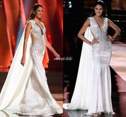 Wholesale Beaded Empire Waist Evening Dress - White Miss Universe Pageant Evening Dresses Watteau Sheer Waist V-Neck Beading Crystals Chiffon Sleeveless 2016 Mermaid Celebrity Prom Gowns