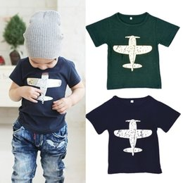 Wholesale Planes Shirts - Retail New Baby Boy Planes T-shirt Children Summer Tops Tees Aircraft Cotton 100% Toddler Cartoon T Shirt