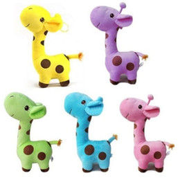 Wholesale Wholesale Giraffe Teddy - 1 Piece Plush Giraffe Soft Toy Animal Dear Doll Baby Kid Child Birthday Happy Gift 5 Colors