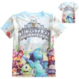 Wholesale Wholesale University Clothing - Boys Cartoon T-shirt Monsters University 3D printing fashion short sleeve shirt Children sports cotton clothes DHL free MOQ:1000pcs SVS0311#