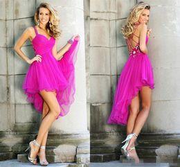Wholesale Fuschia Party Dresses - Plus Size Modest 2017 Short Fuschia Homecoming Dresses Tulle Graduation Gowns Plus Size Mini Backless Party Dress High Low Dressed 8th Grade