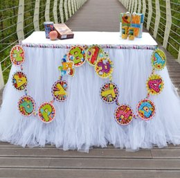 Wholesale table skirts wholesale - new Wedding Tulle Tutu Table Skirt Colors Birthdays Dessert Station Skirt Baby Showers Parties Table Decoration For Wedding 90*80CM wn330