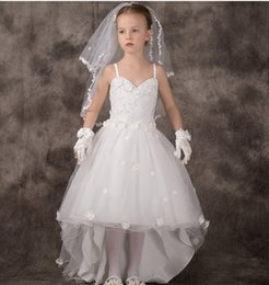 Wholesale Pure White Flower Girl Dresses - Pure White Flower Girls Dresses Spaghetti Strap Hand Made Flower Appliques Beads Hi-Lo Tulle Ball Gowns For Little Girls