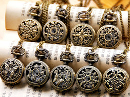 Wholesale Watch Necklace Charms - 50PCS mix 9 style Ladies Gorgeous Stamped Pocket Watch Charm Pendant Necklace Unisex Women's Watches