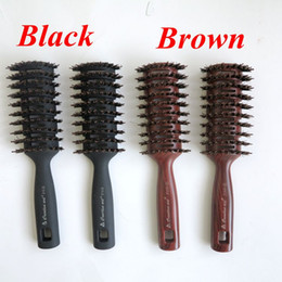 Wholesale Salon Hair Color Wholesale - Boar Bristle Hair Brush Brown Color Comb Brush for Hair Extensions Professional Hair Comb for Salon