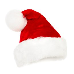 Wholesale santa costume adult - New years Christmas Party Santa Hats Red And White Cap Christmas Hat For Santa Claus Costume XMas Decoration for Adult kids