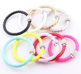 Wholesale Crystal Ball Magnetic Clasp - New Shamballa Magnetic Clasp PU Leather Bracelet Neon Color Crystal Disco Ball Clasp Leather Bracelet Bangle B163