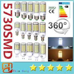 Wholesale E27 Led Warm 7w - Ultra Bright SMD5730 E27 GU10 B22 E14 G9 LED lamp 7W 12W 15W 18W 220V 110V 360 angle SMD LED Bulb Led Corn light 24LED 36LED 48LED 56LED