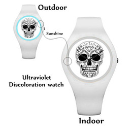 Wholesale Free Battery Testing - 2018 RubberWomen Watches Magic UV Test Watches Ultraviolet Discoloration Watches Outdoor Punk Skull Watch free shipping