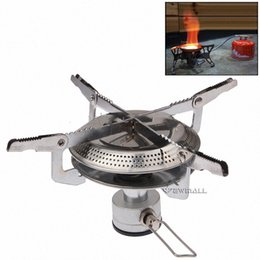 Wholesale Camping Picnic Stove - Outdoor Picnic Round Gas Burner Portable Folding Outdoor Camping Gas Stove 1pc