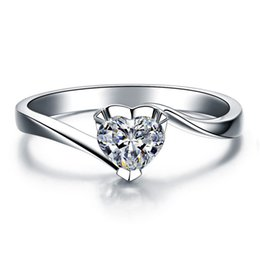 Wholesale Imitation Platinum Silver Wedding Rings - Quality Heart Shape 0.5CT Confessions SONA Synthetic Diamond Ring For Women Wedding Sterling Silver Jewelry Fine Platinum Plated