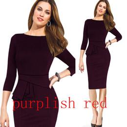 Pinup wiggle vestidos online-Nuevo estilo para mujer Pinup Rockabilly cuello redondo manga tres cuartos Bodycon Stretch Shift Wiggle Lápiz formal Vestidos de fiesta Varios vestidos