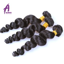 Wholesale Human Hair Weave Brands - Alimice product 7A Unprocessed Virgin Hair Loose Wave 3 Bundles Deals Peruvian Virgin Hair Loose Wave Peruvian Curly Human Hair Weave Brands