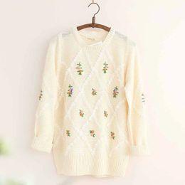 Wholesale Japanese Wool Long Sweater - YoYiKamomo Women sweater big size Japanese mori girl pullover embroidered flowers loose knit sweaters casual knit coat women