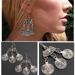 Wholesale Gypsy Chandeliers - Silver Turkish Coin Earrings Floral Design Boho Gypsy Beachy Ethnic Tribal Festival Jewelry Tassle Coins Earring Women Brinco [JE06582*1]