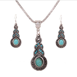 Wholesale Chandelier Necklaces Wholesale - Women girl pendant necklaces Dangle Chandelier earrings set Tibetan Silver Turquoise Rhinestone Earring Necklace Sets charm Jewelry