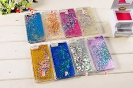 Wholesale Iphone Sparkle Skin - Magical Quicksand Liquid Diamond Star Dynamic Hard Plastic Phone Case For Iphone 6 6S Plus 5 SE 5S Flowing Bling Glitter Sparkle skin cover