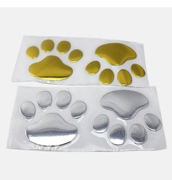 Wholesale Printed Stickers - 12sheets Hot Sale 3D Car Window Bumper Body Decal Sticker Bear Dog Animal Paw Foot Prints Pattern Sticker Gold Silver Tone Free