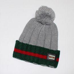 Wholesale Beanies Knitted Hats For Men - 2015 Winter Knitted Hat Hair Ball Beanies Skullies Faux Rabbit Fur Pompoms Gorros Outdoor Bonnet Hat for Women Men Cap