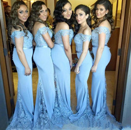 Wholesale blue green contacts - 2017 Blue Arabic Mermaid Bridesmaid Dresses Cap Sleeve Lace and Satin Contact Bridesmaid Gowns with Button Back and Low Bare Back