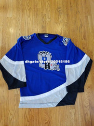 Wholesale Nhl Jersey Cheap - Cheap custom BATON ROUGE KINGFISH ECHL NHL HOCKEY JERSEYS FIGHT STRAP OT SPORTS BLUE stitched Men's hockey jersey