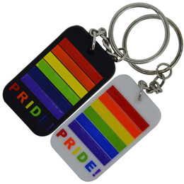 Wholesale Pride Stainless Steel Rings - 50PCS Lot Gay Pride Silicone Dog Tag Pendant Key Chain Ring, Perfect To Use In Any Benefits Gift
