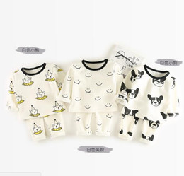 Wholesale Dog Clothes Pants - INS Baby kids 2 Piece Set Kids girl long sleeve O-neck cartoon bear dog print T shirt + pant kids clothing sets free ship 3 colors 0-3T