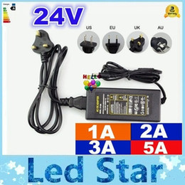 Wholesale 24v Adapter Plug - AC 110-240V To DC 24V 1A 2A 3A 5A Power Supply Charger Converter Adapter For Led Strip UK EU US AU Plugs