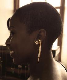 Wholesale Cuffed Earings Pierced - 2016 Women Leaf Shape Tassel Chain Ear Cuffs Cartilage Piercing Earrings Clips Elegant Earings Jewelry Wholesale 12 Pairs