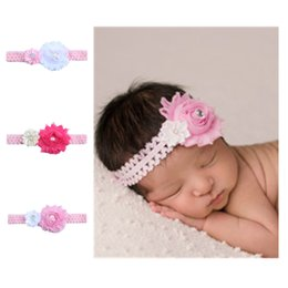 Wholesale Combined Cotton - With Diamond Headband Combined Flower Elastic Baby Headwrap Two Colors Flowers Pink Hair Band New Arrival 1 25ml B